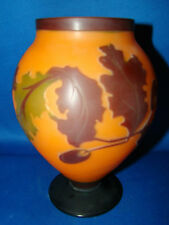 """Art Glass Vase Frosted Orange and Black Autumn Leaves 7.5"""" Tall @10"""