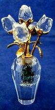 """Swarovski crystal 5 clear roses in vase gold tone 2-3/4"""" tall Marked Co. Logo"""