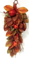 """Silk Magnolia Leaf/Pomegranate Wall Decor~Grapevine Back. 28"""" T. Artificial"""