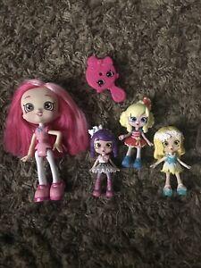 "Lot Of 4 Shopkins Shoppie Dolls 5"" & 3"" Figures"