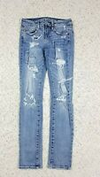 American Eagle Women's Skinny Super Stretch Destroyed Patchwork Blue Jeans 4 Reg