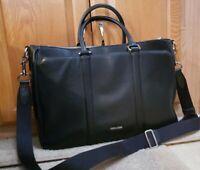 Coach Men's Perry Black Metropolitan Crossgrain Leather Briefcase LN Cond