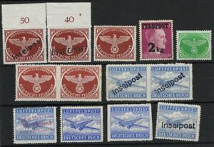 GERMANY 1940s FELDPOST AIRPOST STAMPS MANY WITH INSELPOST OVPT MNH** -CAG 040421