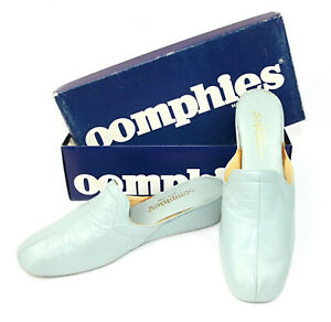 Oomphies Grenada Leather Women's Slippers Wedge Slip Ons Blue w Box Spain - 8