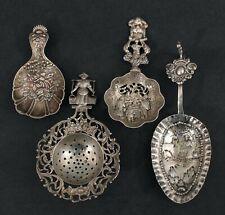 Lot Antique MMA Sterling & Continental Silver Tea Strainer Bon Bon Spoons, NR