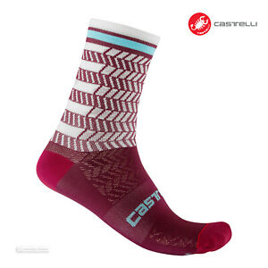 Castelli AVANTI 12 Cycling Socks : BORDEAUX/IVORY - One Pair