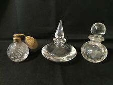 New Listing3 Vintage Cut And Etched Glass Perfume Cologne Bottles