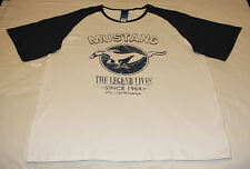 Ford Mustang Legend Lives Mens Cream Printed Short Sleeve T Shirt Size 4XL New