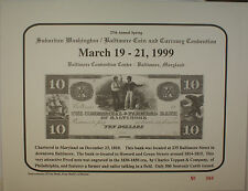 1999 March 27th Spring Washington Baltimore Coin & Currency Show Souvenir Card