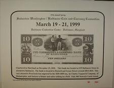 1999 March 27th Spring Washington Baltimore Coin & Currency Show Souvenir Card