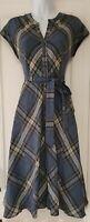 Womens Monsoon Blue Check Tartan Plaid Wool Mix Belted Midi Pinafore Dress 8