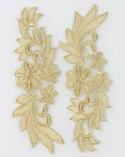 1 Mirror Pair Venise Costume Sewing Gold Flower Floral Lace Trims Applique