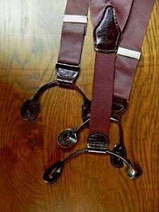 Men's Suspenders NO Name Burgundy Poly Leather Stainless Steel NWOT N-#135