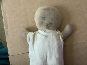 Antique 1800's Folk Art Hand Painted Face Much Loved Primitive Rag Doll