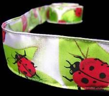 """2 Yds Ladybugs Lady Bugs Leaves Satin Ribbon 1 1/2""""W"""