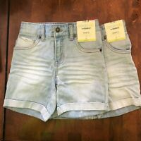 OshKosh Girls Denim Shorts Light Wash Adjustable Waist STRETCH 3T 4T Bundle