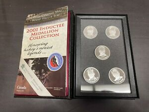 2001 HOCKEY HALL OF FAME INDUCTEE STERLING SILVER 5 MEDALLION COLLECTION SIGNED