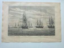 1885 Xilografía: La escuadra alemana en los mares de oriente, cruceros corbetas