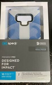 Speck Presidio Grip Case fits Galaxy Note 9 Microchip Grey Ballpoint Blue