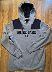 Notre Dame Football Team Issued Under Armour Coldgear Hooded Sweatshirt XL