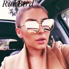 RunBird 2017 New Flat Top Rose Gold Men Women Mirror Sunglasses Fashion Brand