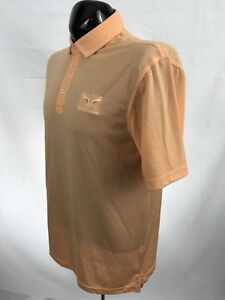 OXFORD GOLF Mens Polo Shirt M Orange Golf Performance Polyester Cotton S/S