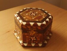 Vintage Wooden Mosaic Marquetry Inlay Trinket Box.
