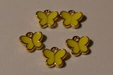 Yellow Butterfly Charms x 5 Enamel Gold Plated Pendants Crafts Jewellery Making