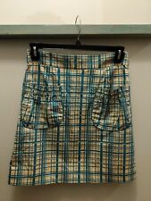 Anthropologie Skirt Sz 6 Girls From Savoy LANE CHANGE Teal Pockets Cotton Grid