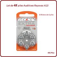 Lot de 48 piles boutons auditives A13 Rayovac, livraison rapide et gratuite