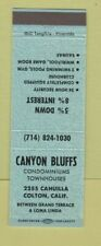 Matchbook Cover - Canyon Bluffs Condos Colton CA BLUE