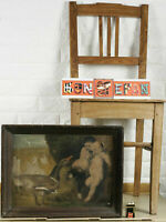 Damaged Oil Painting Antique Faun Goose Children Geese Baby Satyr