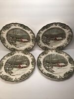 4 JOHNSON BROS. FRIENDLY VILLAGE ''THE SCHOOL HOUSE'' DINNER PLATES 9 7/8''