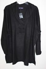 Women's 2X 26/28 Fit 3X Black Fleece Shawl Collar Top Shirt Bust 60 Tunic Len 32