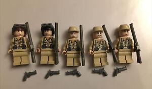 5 Lego Indiana Jones Minifigures German Soldier WW II  w/ Guns 7622 7620 LOT #51