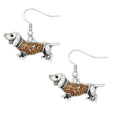 Wiener Dog Fashionable Earrings - Fish Hook - Sparkling Crystal