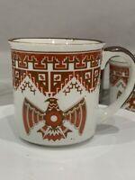 Vtg Stoneware Glazed Mug Cup Southwestern Tribal Bird *Lot Of 4*  Himark