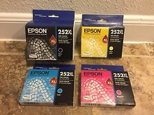 Set 4 GENUINE Epson 252 252XL Ink Cartridges WF 5620 5690 3620 3640 7610 Black