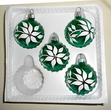 Christmas Ball Ornaments 5 Glass Winter Jubilee Flocked M Stewart Green White