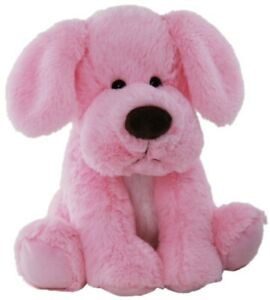 Soft toy plush pink and blue nursery dog Australian stock