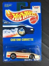 Hot Wheels Custom Corvette Collector #200 1991 White MOC HTF Malaysia Blue Card