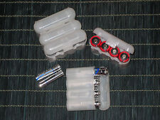 Universal Interlocking Battery Carrier Holder Case CR123A AA AAA - 3 PACK CLEAR
