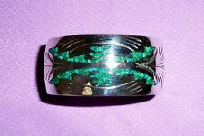 ..Handmade Native American style  Hefty Sterling Cuff Turquoise  Inlay