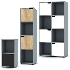 2, 4 8 Grey Cube Bookcase Shelving Display Shelf Storage Living Room Wooden Door