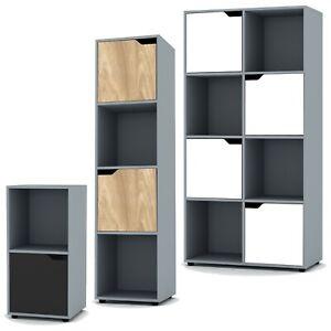 2, 4 8 Grey Cube Bookcase Shelving Display Shelf Storage Living Room Wooden Door
