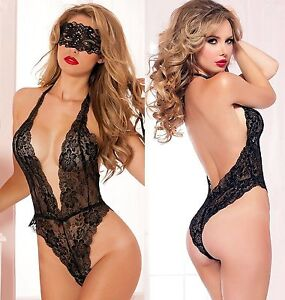 Lingerie body dentelle + Masque taille S - Sexy Lace erotic costume & eye mask