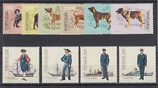 Portugal Sc 1498/1562 MNH. 1981 Dogs, 1983 Uniforms, 2 cplt sets, VF