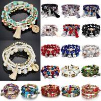 Fashion Boho Multilayer Natural Stone Crystal Beaded Bracelet Women Bangle Gift