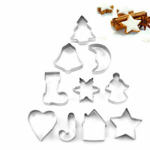 10pcs Christmas Metal Cookie Cutters Set Star Tree Bell Angel Candy Cane Biscuit