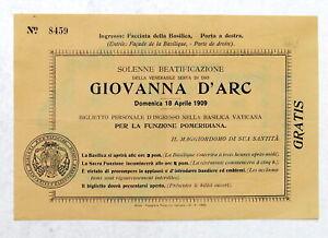 Biglietto ingresso Basilica Vaticana Beatificazione Giovanna D'Arco - 1909